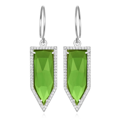 Paris Dagger Earring Lime Silver