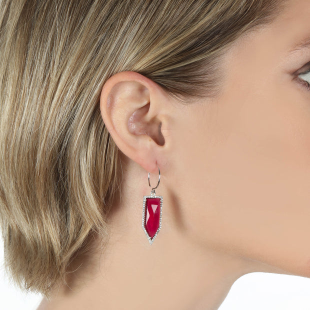 Paris Dagger Earring Ruby Silver