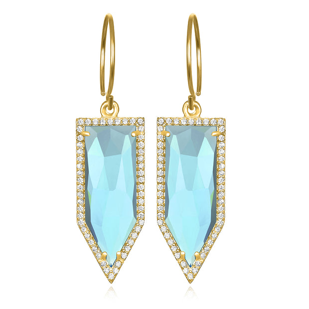 Paris Dagger Earring Sky Blue Gold