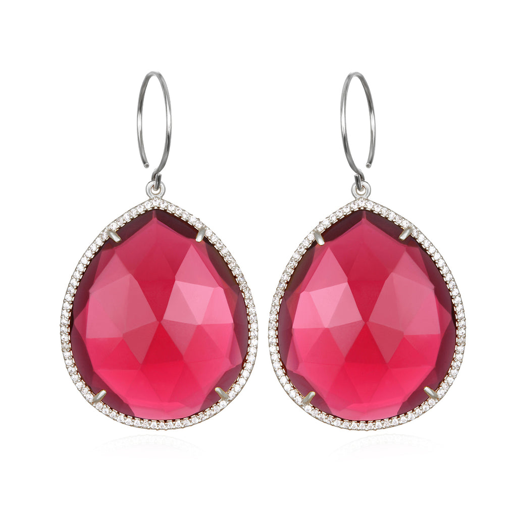 Paris Grand Teardrop Ruby Silver