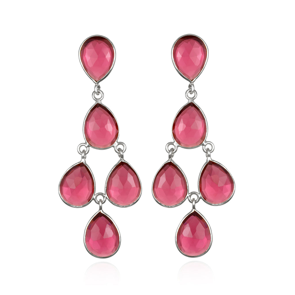 Chandelier Earrings - Ruby Silver