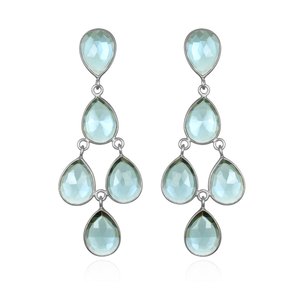Seafoam Chandelier Earrings Silver