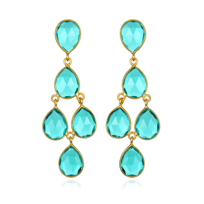 Chandelier Earrings - Teal Gold