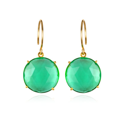 Royal Earring-Round Aqua Gold