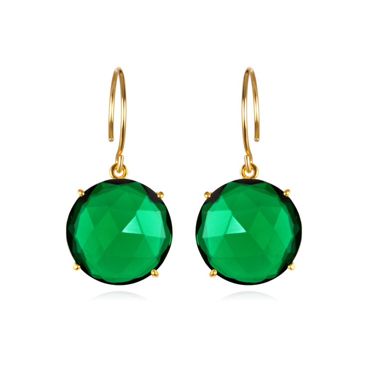 Royal Earring-Round Emerald Gold