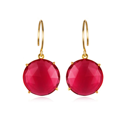 Royal Earring-Round Ruby Pink Gold
