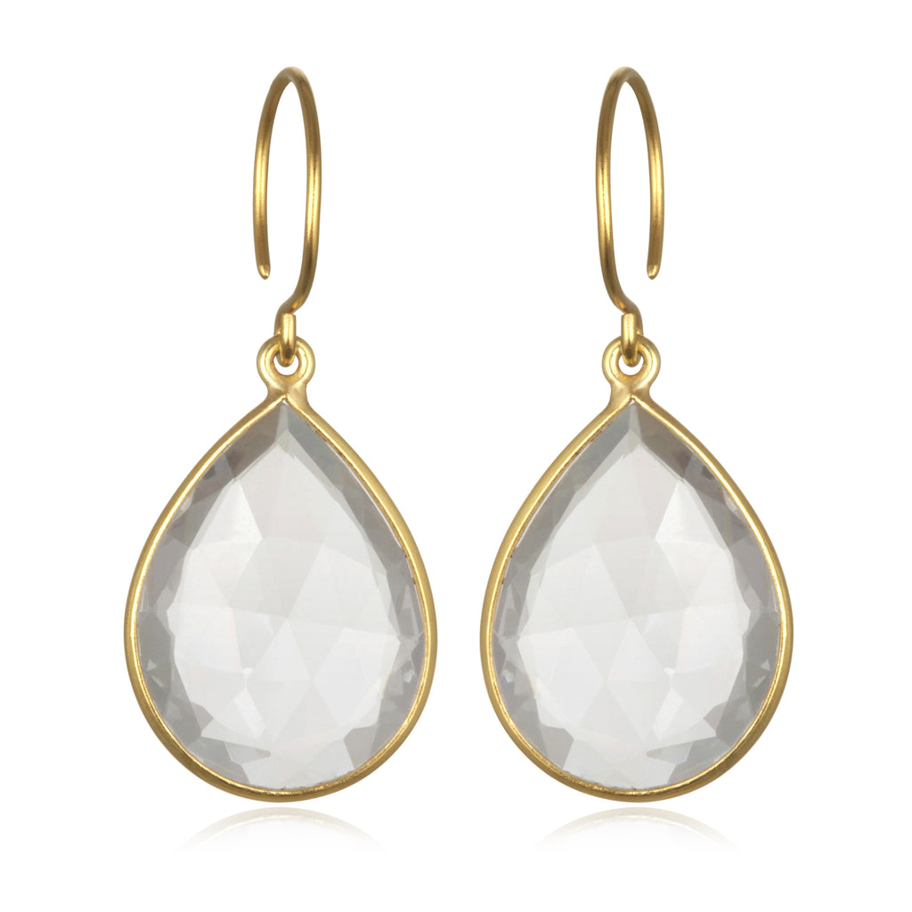 Cabo Gem Teardrop Earring-Crystal Gold