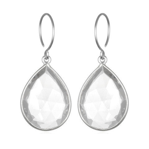 Cabo Gem Teardrop Earring-Crystal Silver