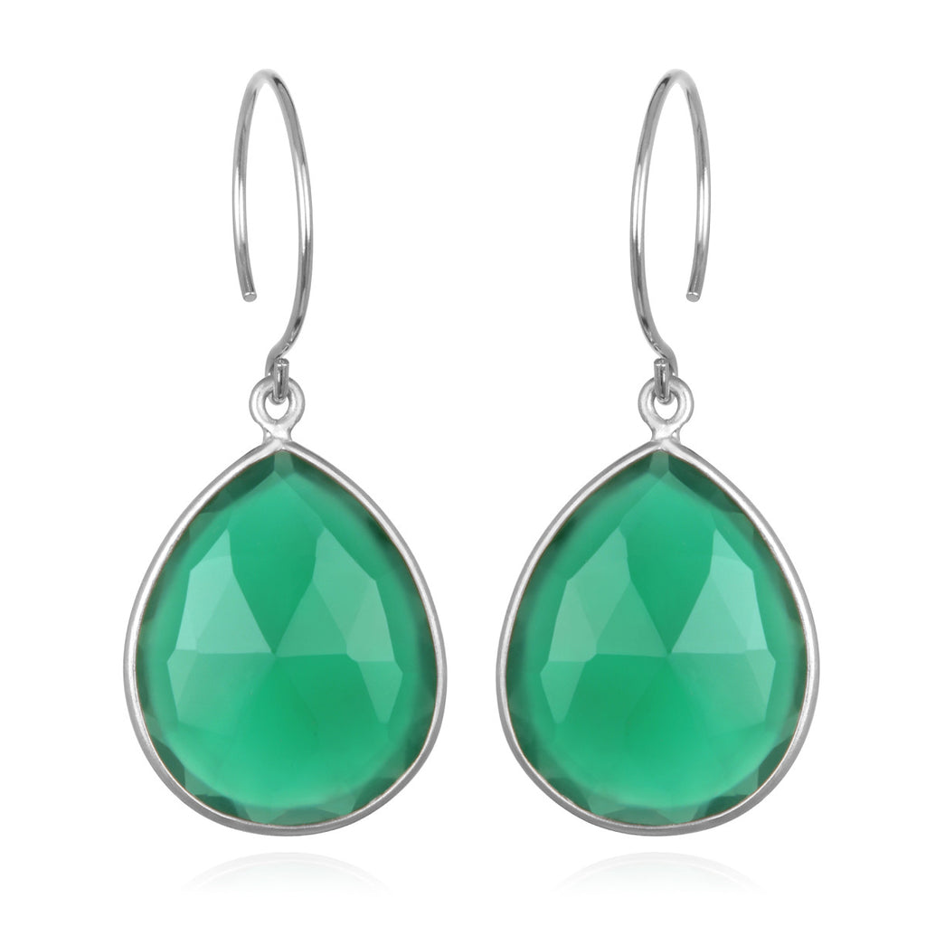 Cabo Gem Teardrop Earring-Green Onyx Silver