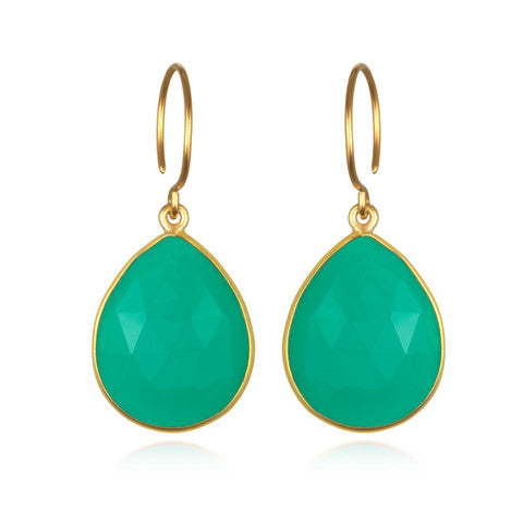 Cabo Gem Teardrop Earring-Jade Gold