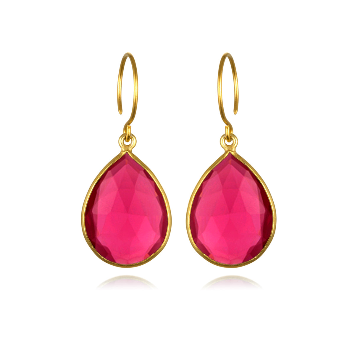 Cabo Gem Teardrop Earring-Ruby Gold