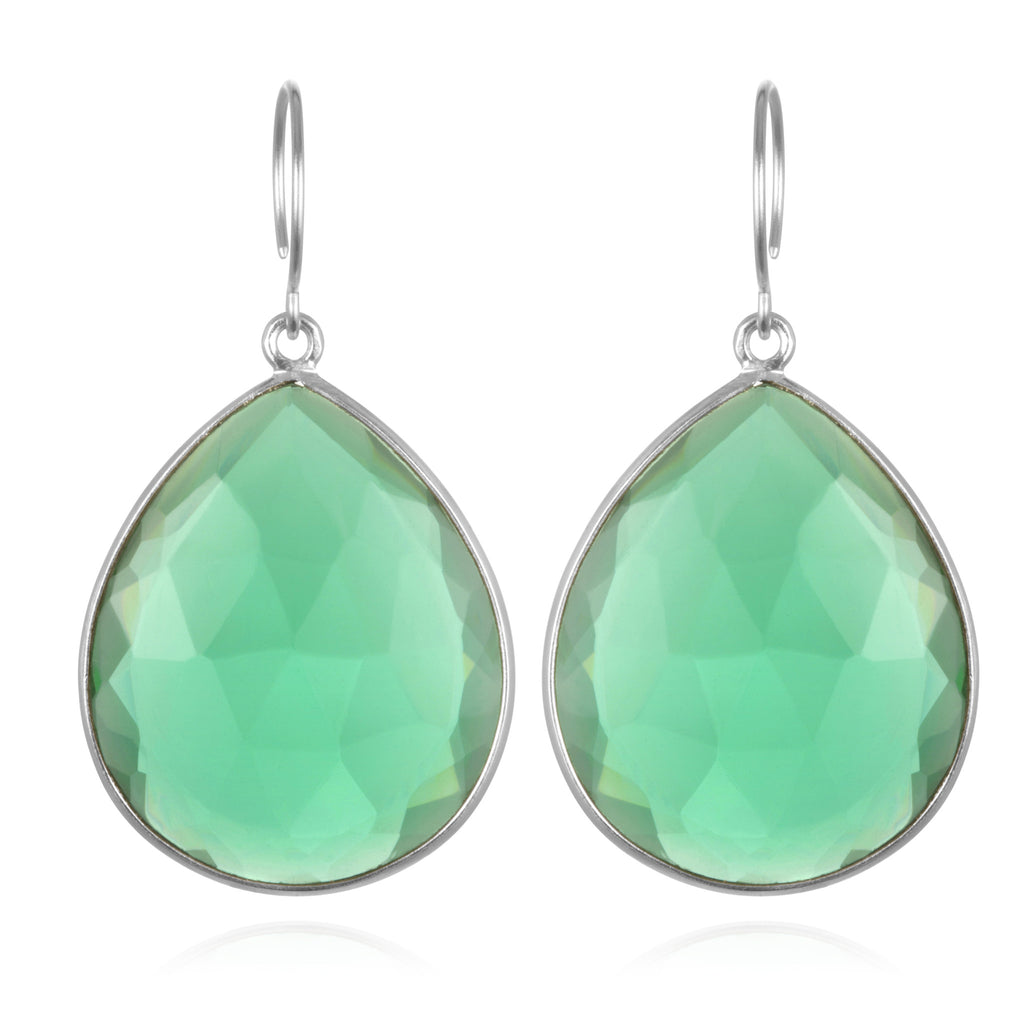 Cabo Grand Teardrop Earring-Aqua Silver