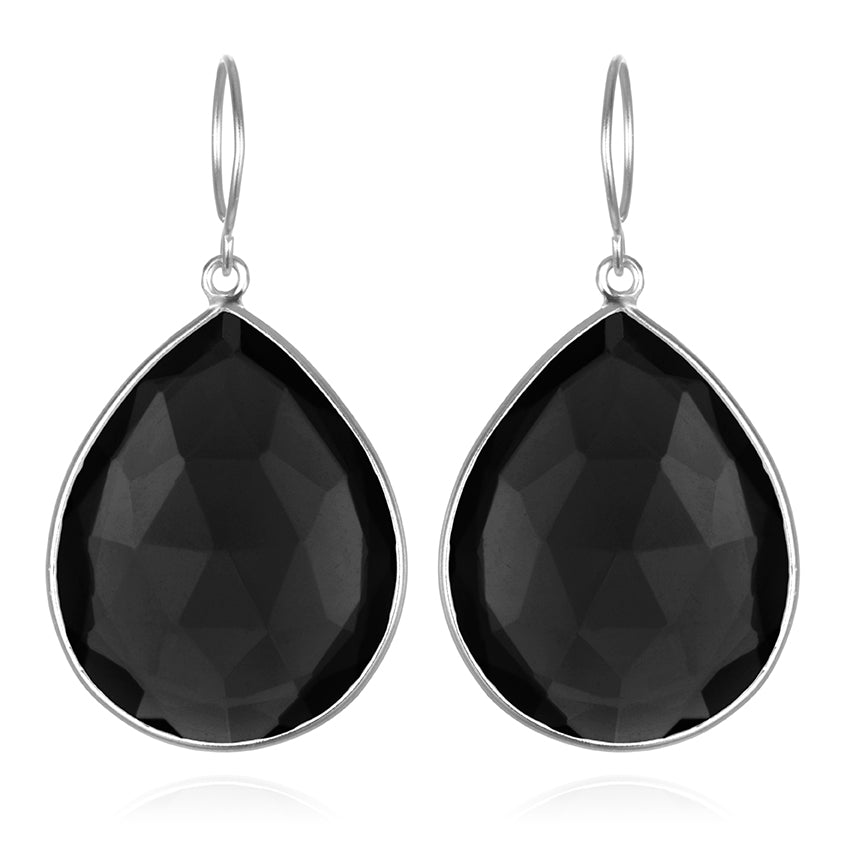 Cabo Grand Teardrop Earring-Black Garnet Silver
