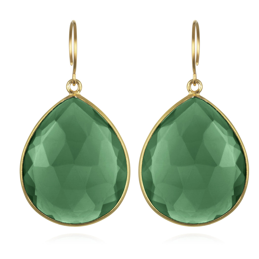 Cabo Grand Teardrop Earring-Emerald Gold