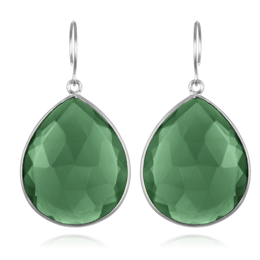 Cabo Grand Teardrop Earring-Emerald Silver