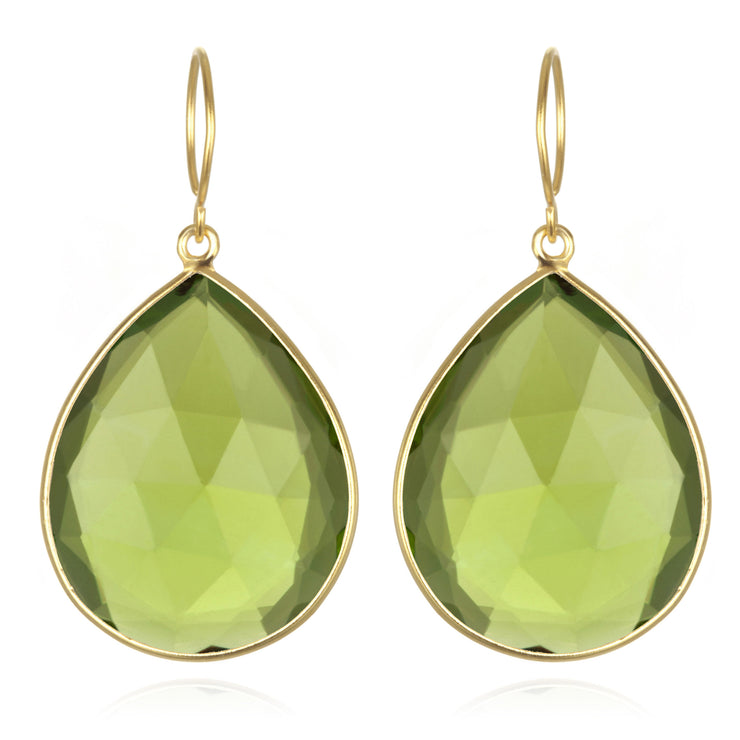 Cabo Grand Teardrop Earring-Lime Gold