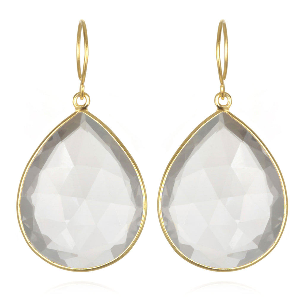 Cabo Grand Teardrop Earring-Crystal Gold
