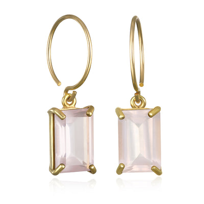 Chatham Earring-Rose Quartz Gold