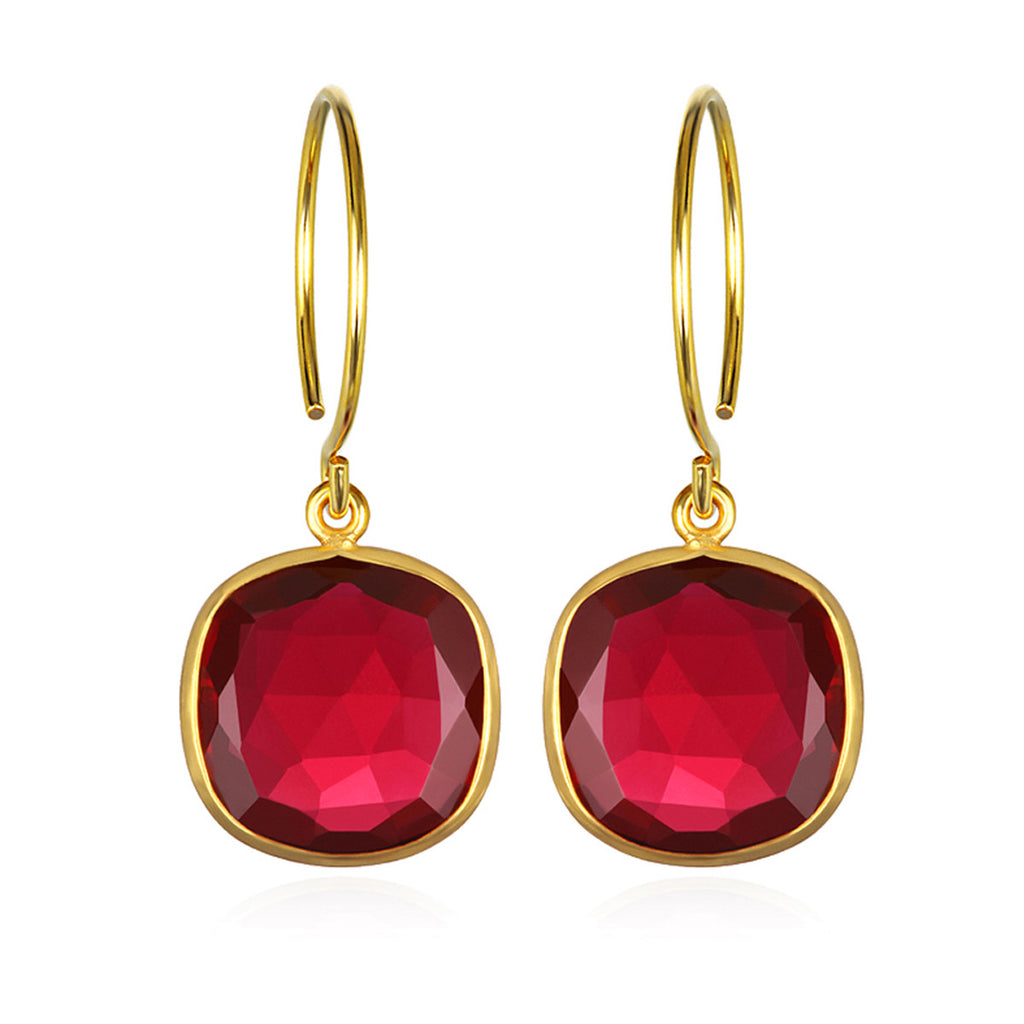Catalina Cushion Earring Ruby Pink Gold
