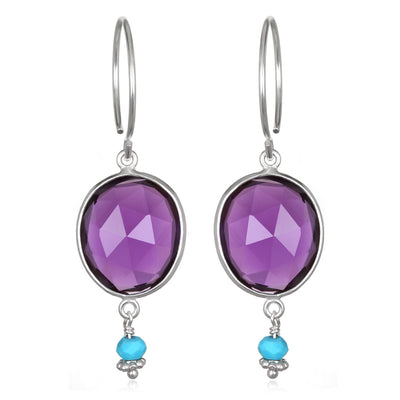 Lake Como Earring - Amethyst Turquoise Silver