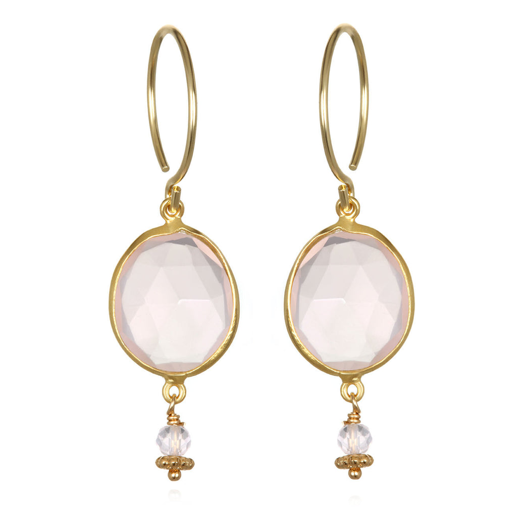 Lake Como Earring - Rose Quartz Gold