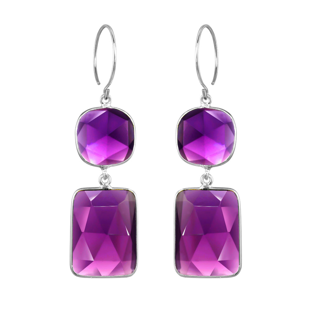 Cabo Double Drop Earrings - Violet Silver