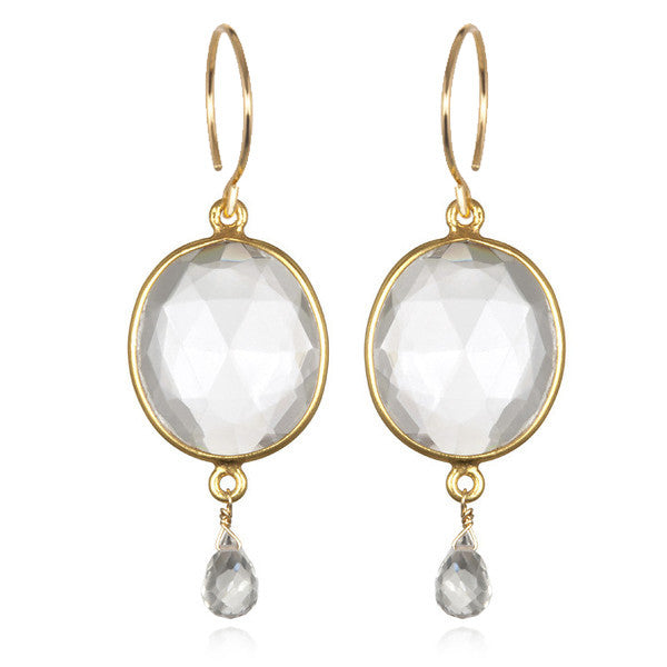 Cabo Gemdrop Earring-Crystal Gold