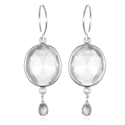 Cabo Gemdrop Earring-Crystal Silver