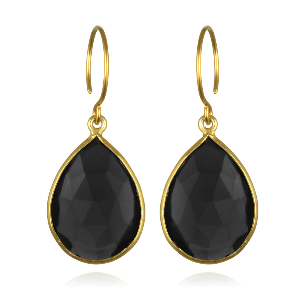 Cabo Gem Teardrop Earring-Black Gold