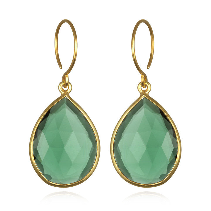 Cabo Gem Teardrop Earring-Emerald Gold