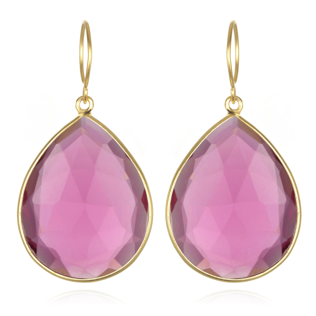 Cabo Grand Teardrop Earring-Ruby Gold