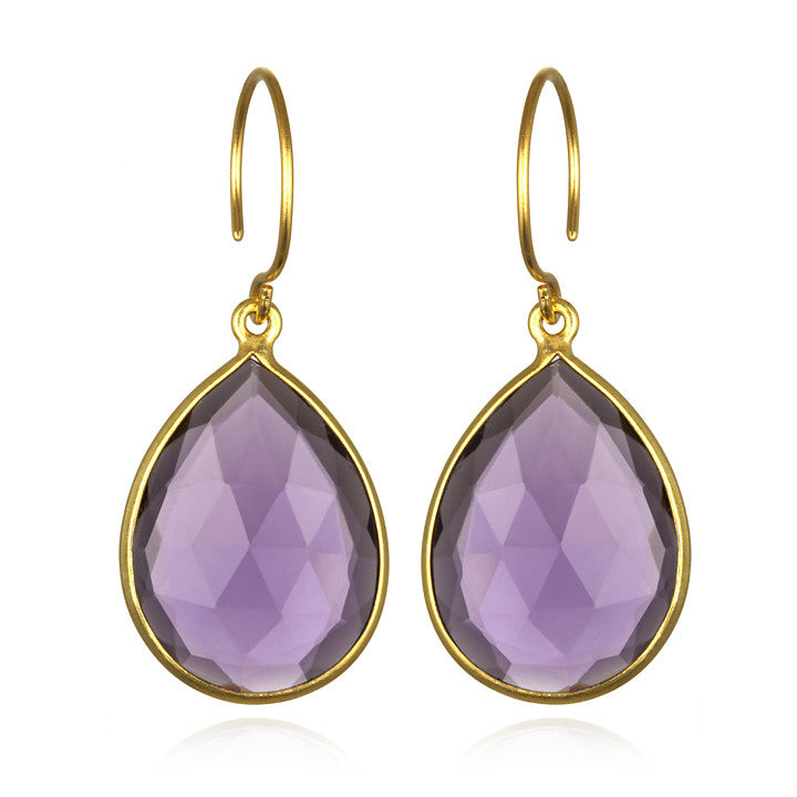 Cabo Gem Teardrop Earring-Violet Gold