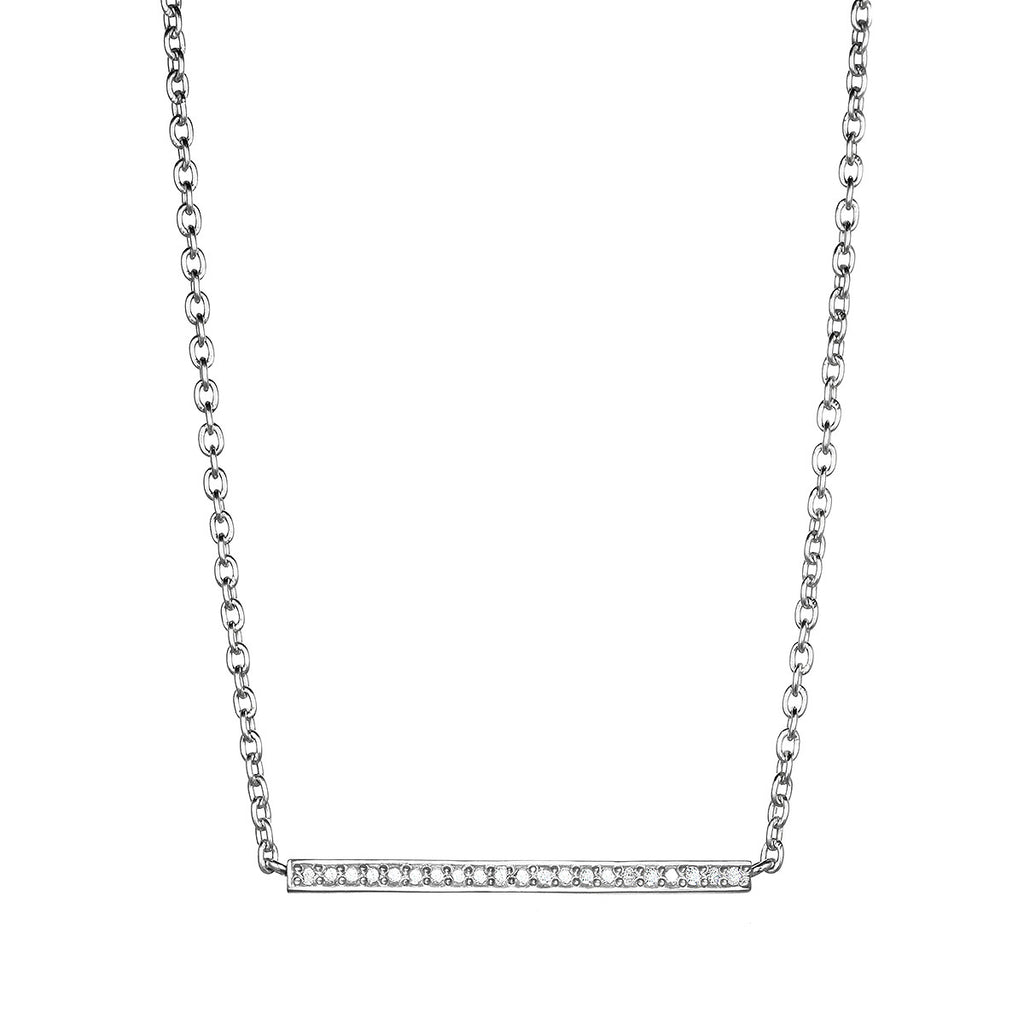 Diamond Matchstick Necklace - Silver