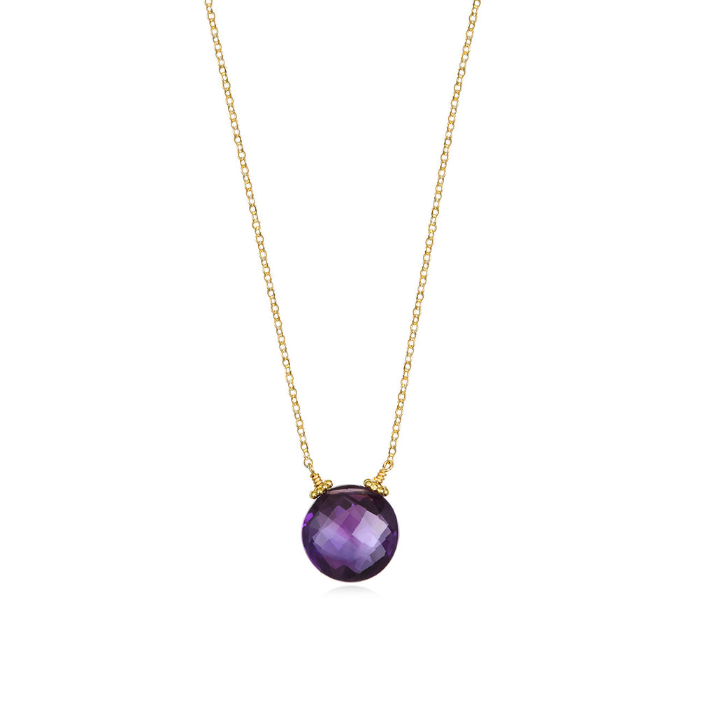 Coin Necklace - Amethyst Gold