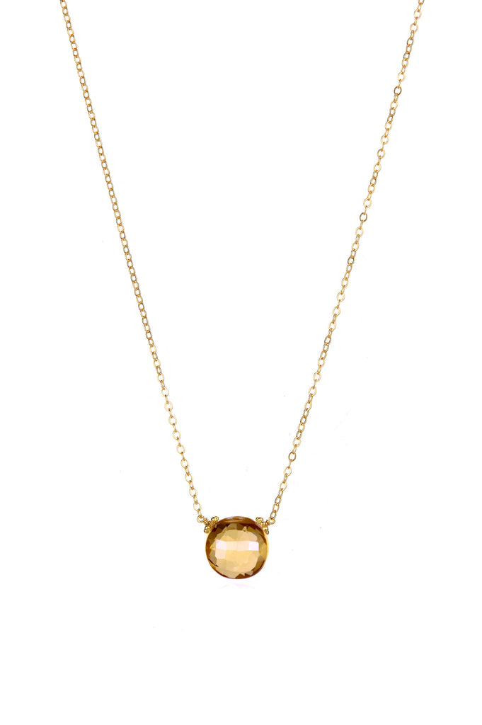 Coin Necklace - Champagne Citrine Gold