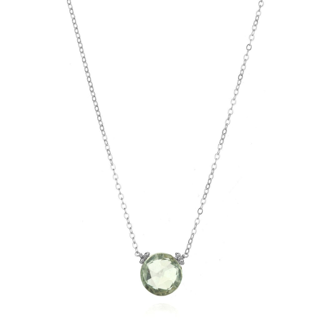 Coin Necklace - Green Amethyst Silver
