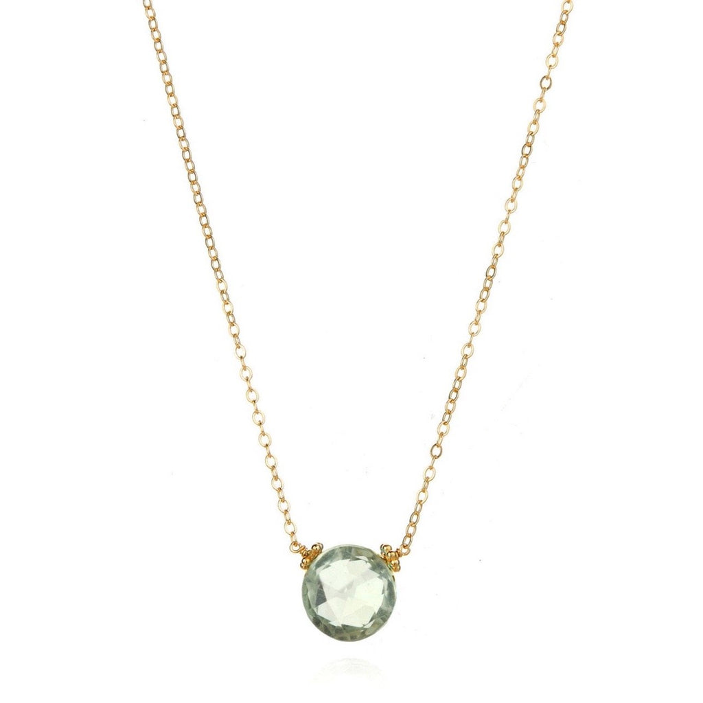 Coin Necklace - Green Amethyst Gold