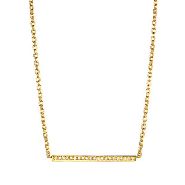 Diamond Matchstick Necklace - Gold