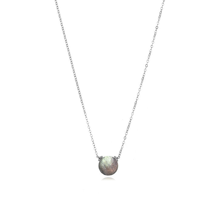 Coin Necklace - Labradorite Silver