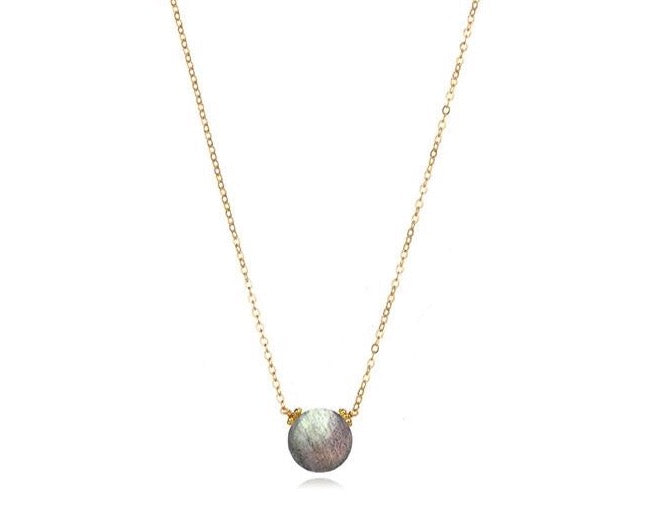 Coin Necklace - Labradorite Gold