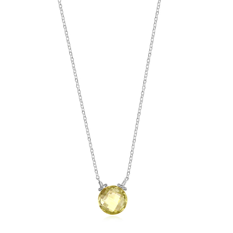 Coin Necklace - Lemon Quartz Silver