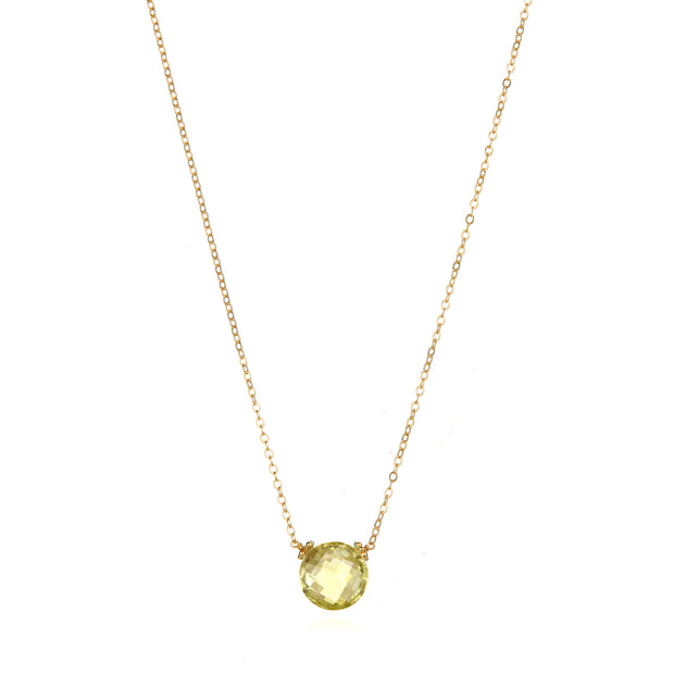 Coin Necklace - Lemon Quartz Gold