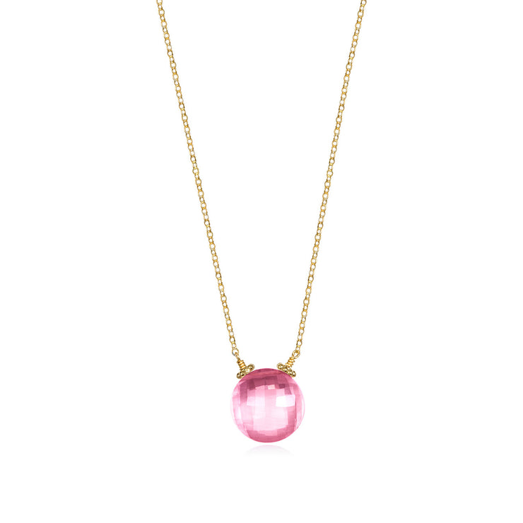 Coin Necklace - Pink Topaz Gold