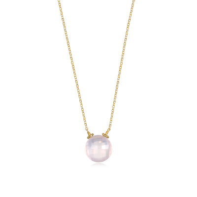 Coin Necklace - Rose Quartz Gold
