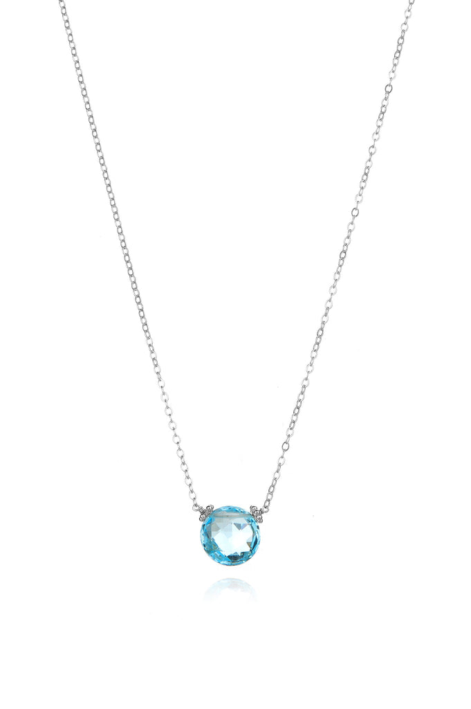 Coin Necklace - Sky Blue Topaz Silver