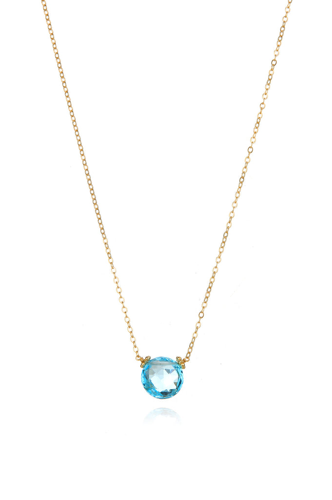 Coin Necklace - Sky Blue Topaz Gold