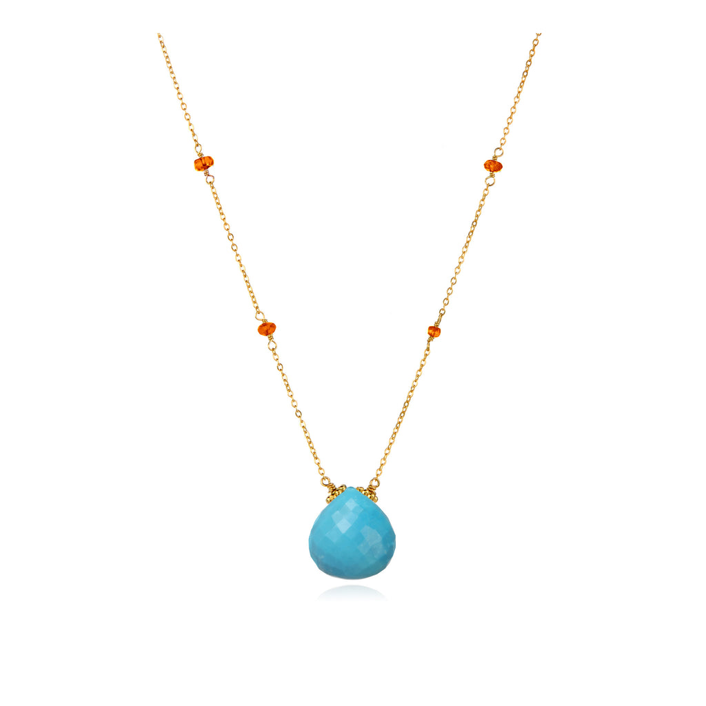 Catherine Necklace Turquoise Carnelian Gold