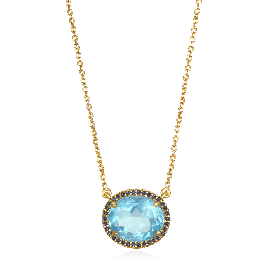 Charleston Necklace - Sky Blue Gold