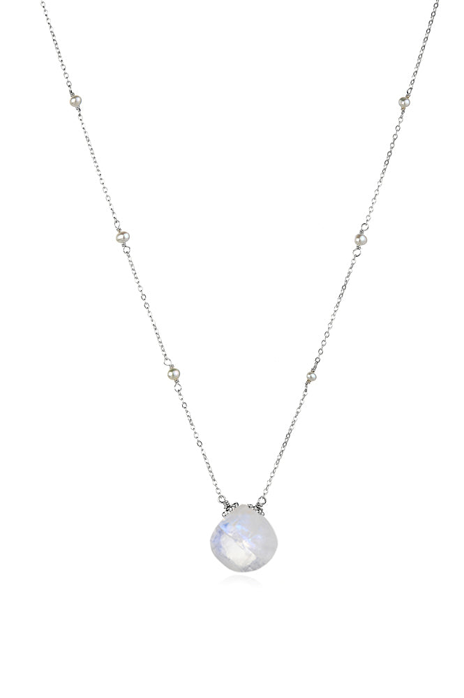 Catherine Necklace-Moonstone Silver