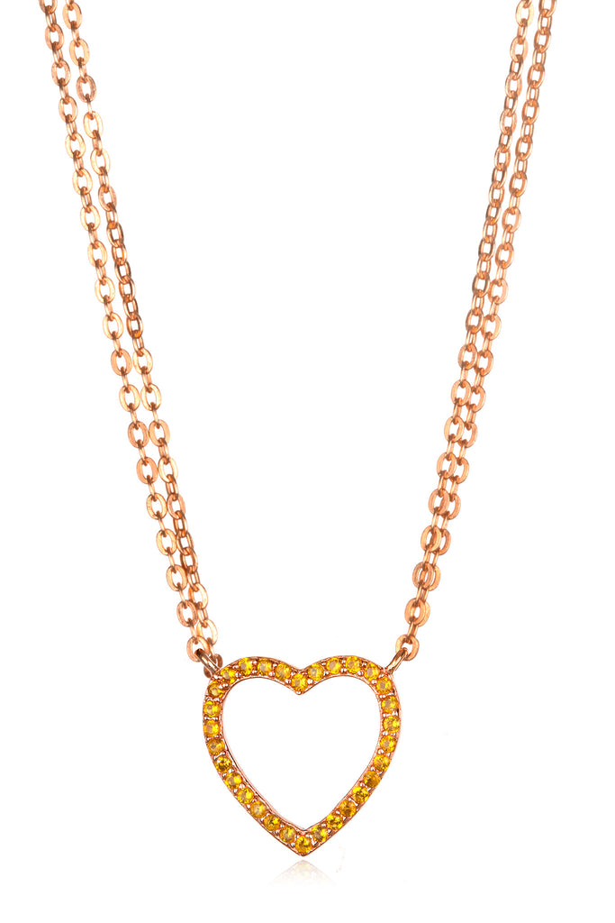 Sapphire Heart Necklace - Champagne Rose Gold